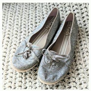 Silver sparkle glitter KEDS size 9